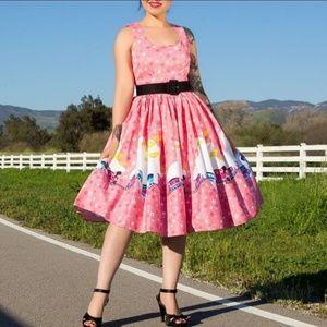 Magic of Mary Blair Aurora pink Trains dress XL